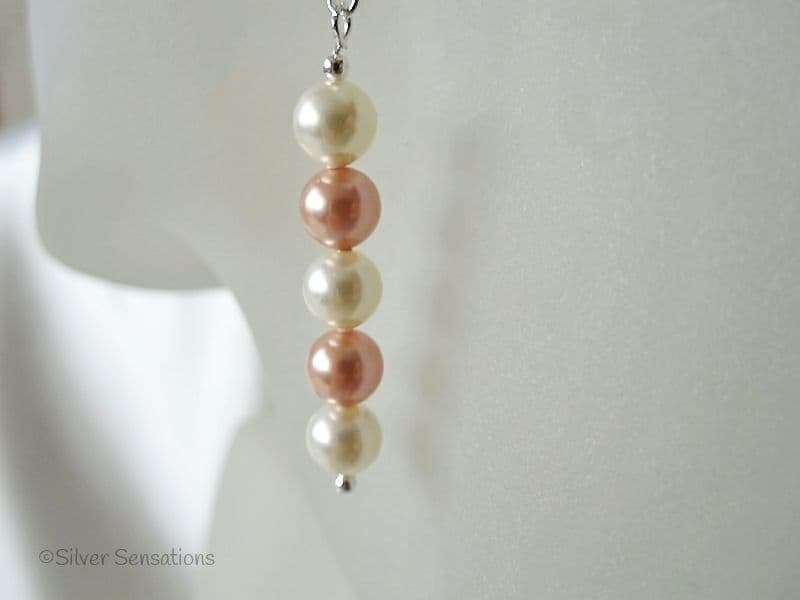 Unique Peach & Cream Swarovski Pearls & Sterling Silver Drop Earrings
