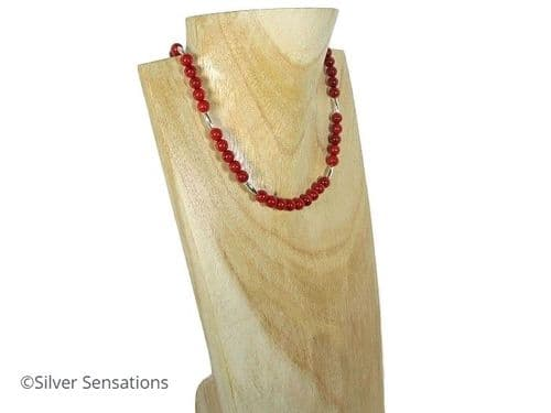 Unique Rich Red Coral Ladies Necklace With Oval Sterling Silver Beads