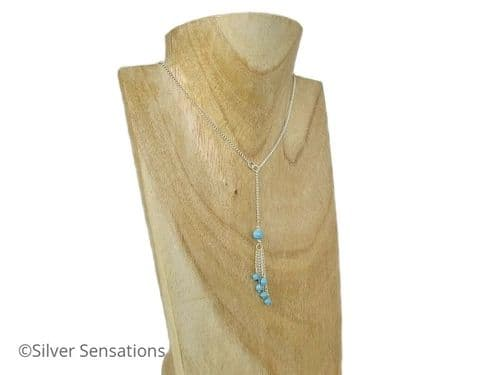 Unique Turquoise Blue Swarovski Pearls, Crystals & Sterling Silver Curb Chain Lariat Necklace