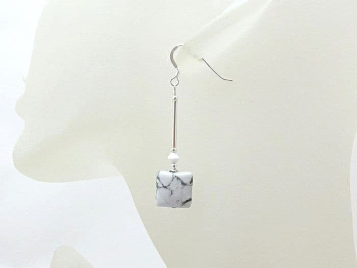 White & Grey Howlite Square Earrings With Sterling Silver Tubes