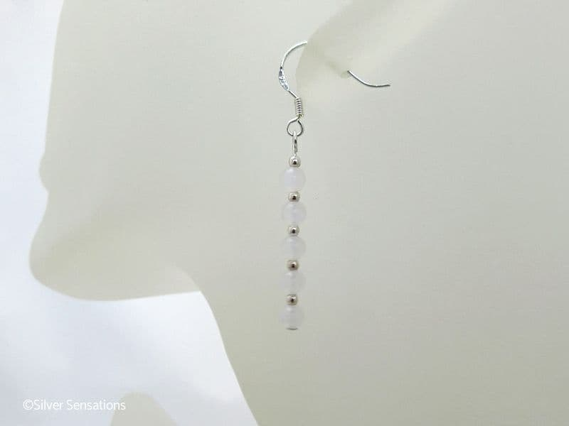 White Jade Bead Stack & Sterling Silver Earrings