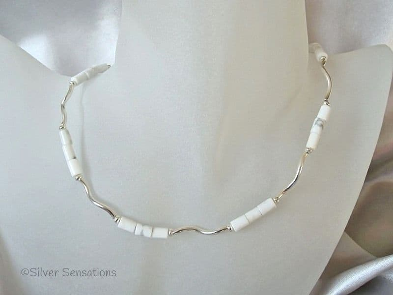 White & Pastel Grey Turquoise Howlite Tubes & Sterling Silver Wave Necklace