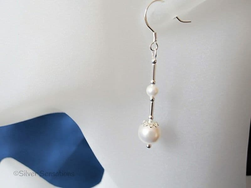 White Swarovski Pearl Duo & Sterling Silver Tubes Wedding Earrings