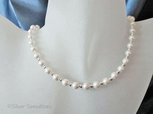 White Swarovski Pearls & Sterling Silver Beads Bridal Necklace