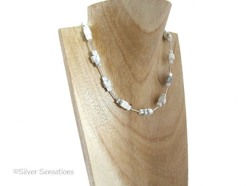 White Turquoise Howlite Square Cube Blocks & Sterling Silver Tubes Necklace