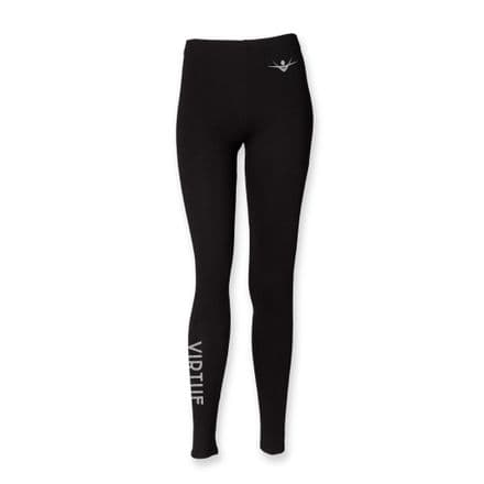 Kids Black Leggings with VIRTUE on right leg GLITTER