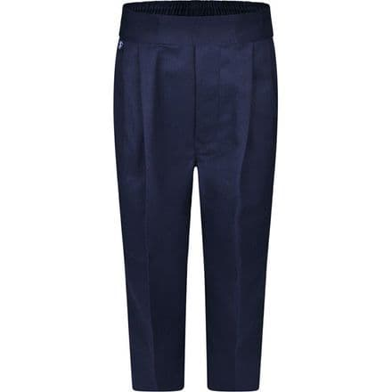 Navy Blue Boys Pull on Elasticated Trousers