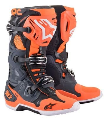 2021 Alpinestars Tech 10 Motocross Boots - Grey Orange