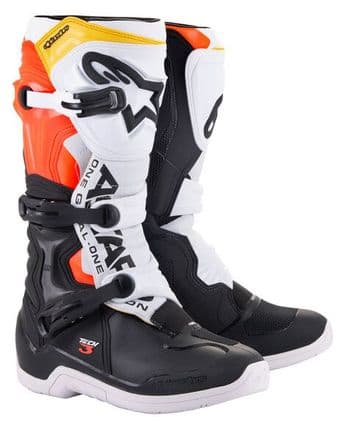 2021 Alpinestars Tech 3 Motocross Boots - Black White Red Flo