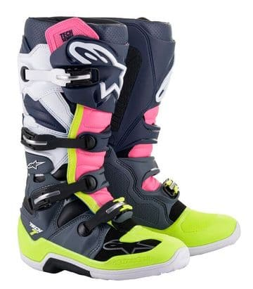 2021 Alpinestars Tech 7 MX Boots - Dark Grey Blue Pink