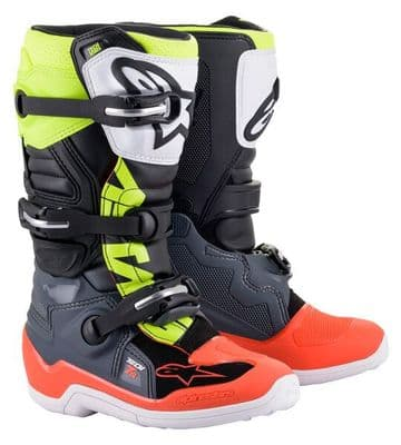 2021 Alpinestars Tech 7S Youth MX Boot - Grey Red Flo