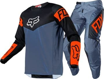 2021 Fox 180 Revn Motocross Kit Combo - Steel Blue/Orange