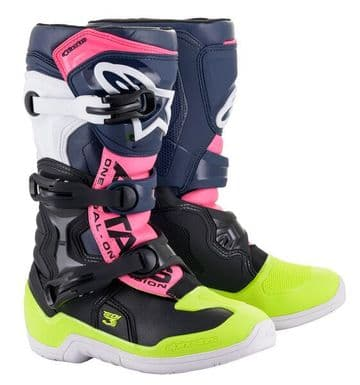 Alpinestars Tech 3s Kids Youth Motocross Boots - Black Blue Pink
