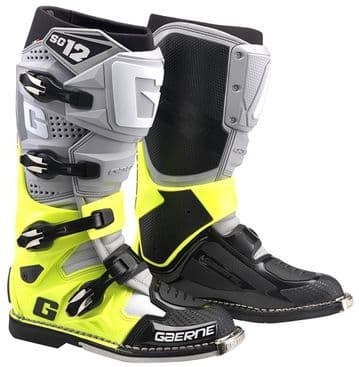 Gaerne SG12 Motocross Boots - Grey Yellow Black