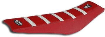 Guts Ribbed VS seat cover Red w White Ribs CRF250 18-20, CRF450 17-20