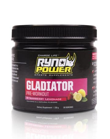 Ryno Power GLADIATOR Strawberry Lemonade Pre-Workout Drink Mix | 30 Servings (150 g)