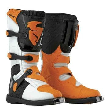 Thor Youth Blitz Motocross Boot - White/ Orange