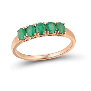 Bague 5 Emeraude Or 14 K