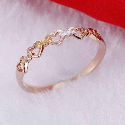 Bague Alliance multi coeur multi Or 18 K