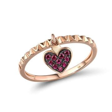Bague Alliance Rubis Coeur Breloque Chic Or rose 9K