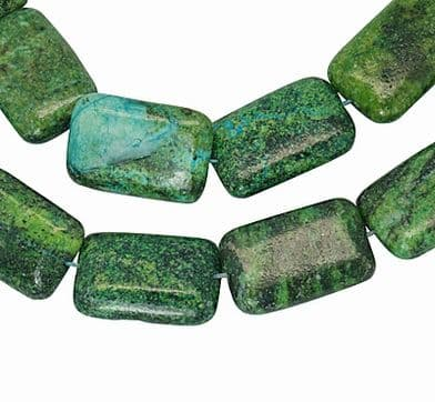 10 Rectangle Natural Turquoise Beads, Grass Green, 20~21mm wide, 30~31mm long