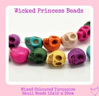 15 xMixed Turquoise Skull Loose Beads 13x12mm