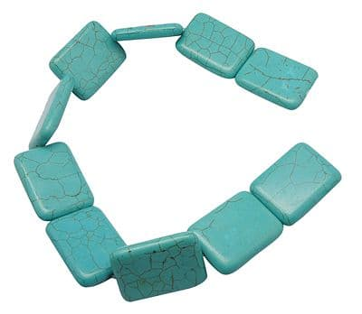 2 Rectangle Turquoise,Gemstones, 30mm wide, 40mm long, 7.5mm
