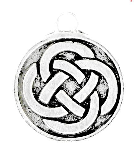 """5 Antique Silver Celtic Eternal Knot in Circle Charm  23 x 20 mm(7/8""""x 6/8"""")"""