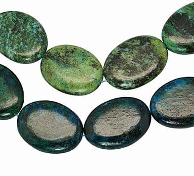 5 Oval Natural Turquoise Beads, Grass Green,  29~30mm wide, 39~40mm long, 7~9mm thick