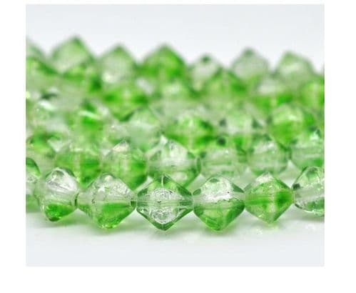 50 Green & Clear Bicone Crackle Glass Beads 8mm