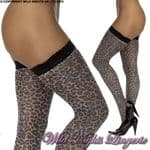 Luxury Lace Top Leopard Hold Up Stockings